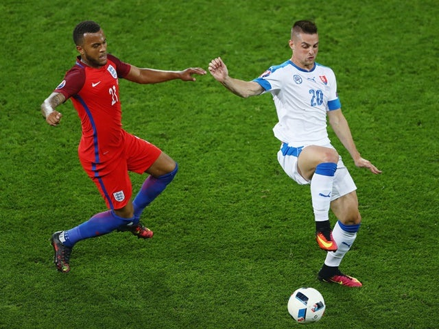 Ryan Bertrand challenges Robert Mak during the Euro 2016 Group B match between Slovakia and England on June 20, 2016