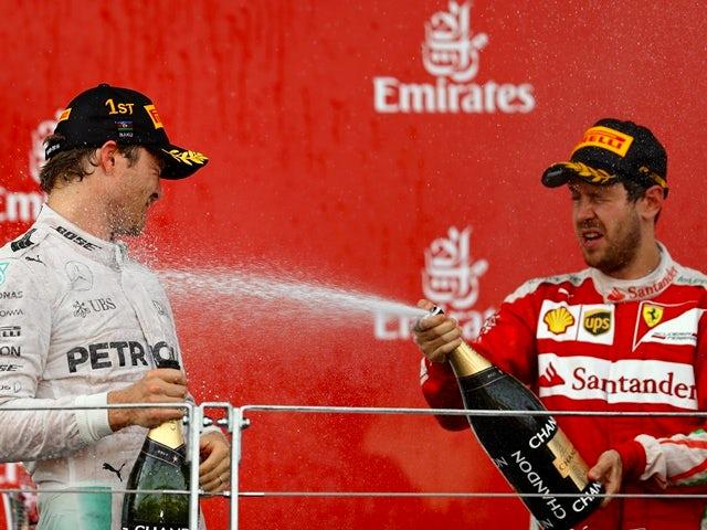 Nico Rosberg and Sebastian Vettel on the podium during the European Formula One Grand Prix at Baku City Circuit on June 19, 2016