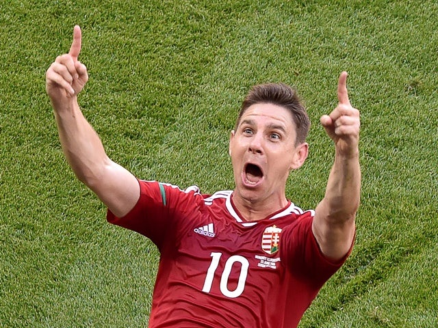 Zoltan Gera celebrates scoring a goal during the Euro 2016 Group F match between Hungary and Portugal on June 22, 2016