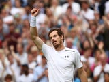 Andy Murray of Great Britain celebrates victory during the Men's Singles first round match against Liam Broady of Great Britain on day two of the Wimbledon Lawn Tennis Championships at the All England Lawn Tennis and Croquet Club on June 28, 2016 in Londo
