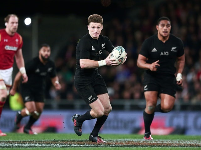 Beauden Barrett makes a break during the international Test match between New Zealand and Wales on June 25, 2016