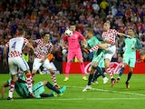 Domagoj Vida shoots wide during the Euro 2016 RO16 match between Croatia and Portugal on June 25, 2016