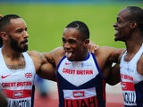 Jason Elington, CJ Ujah and James Dasaolu celebrate after the men's 100m final at the British Championships on June 25, 2016