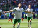 Robbie Brady celebrates scoring the opening goal during the Euro 2016 RO16 match between France and Republic of Ireland on June 26, 2016