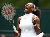 Serena Williams of The United States reacts during the Ladies Singles first round match against Amra Sadikovic of Switzerland on day two of the Wimbledon Lawn Tennis Championships at the All England Lawn Tennis and Croquet Club on June 28, 2016 in London,