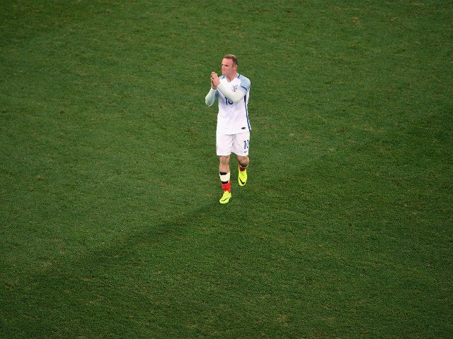 Wayne Rooney of England shows his dejection after his team's 1-2 defeat in the UEFA EURO 2016 round of 16 match between England and Iceland at Allianz Riviera Stadium on June 27, 2016 in Nice, France