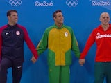 Michael Phelps, Chad le Clos and Laszlo Cseh tie for silver in the 100m butterfly at the Rio Olympics on August 12, 2016
