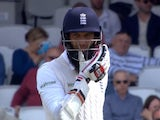 Moeen Ali reacts after being hit on the head during day one of the fourth Test between England and Pakistan on August 11, 2016
