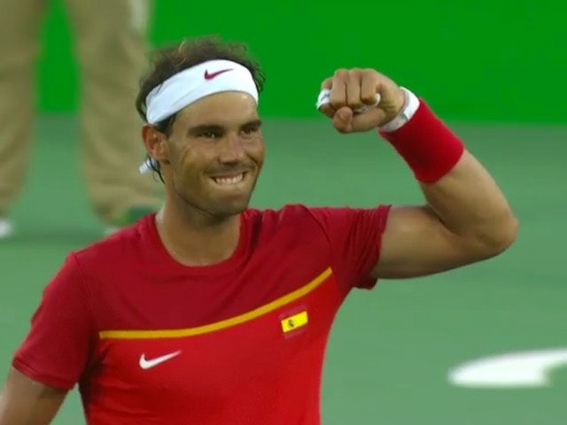 Rafael Nadal shows off the guns after making it through to the semis at the Rio Olympics on August 12, 2016