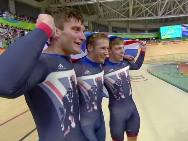 Team GB celebrate winning the men's team sprint at the Rio Olympics on August 11, 2016
