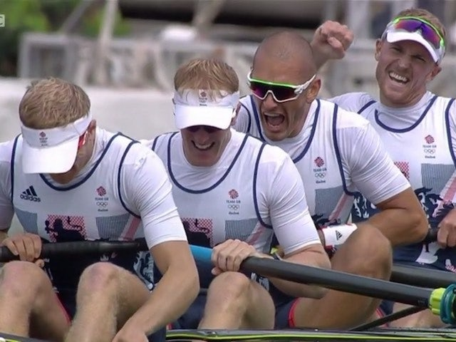 Team GB's coxless fours team celebrate victory at the Rio Olympics on August 12, 2016