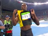 Usain Bolt celebrates winning the men's 100m on August 14, 2016