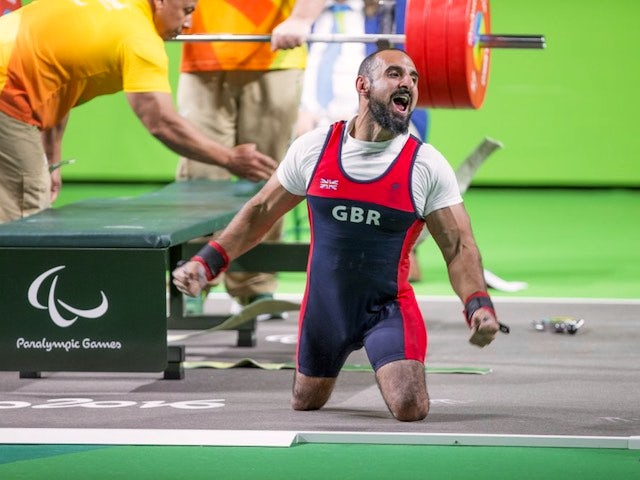 Ali Jawad celebrates winning powerlifting silver for ParalympicsGB at the Rio Paralympics on September 9, 2016
