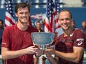 Jamie Murray and Bruno Soares celebrate winning the US Open men's doubles on September 10, 2016