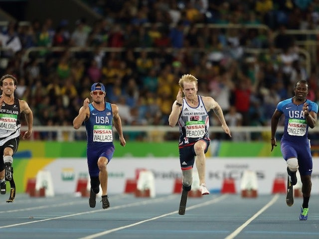 Jonnie Peacock in action during the men's T44 100m final at the Paralympic Games in Rio de Janeiro on September 10, 2016