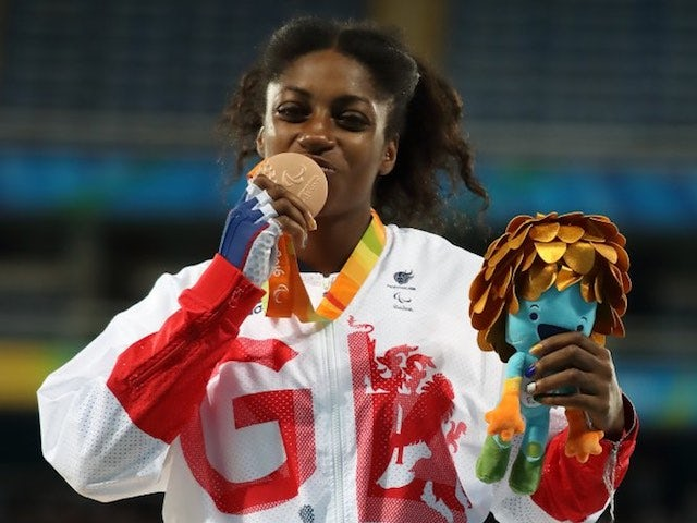 ParalympicGB sprinter Kadeena Cox poses with her bronze medal after the women's T38 100m final at the Rio Games on September 9, 2016