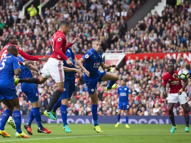 Chris Smalling scores during the game between Manchester United and Leicester City on September 24, 2016