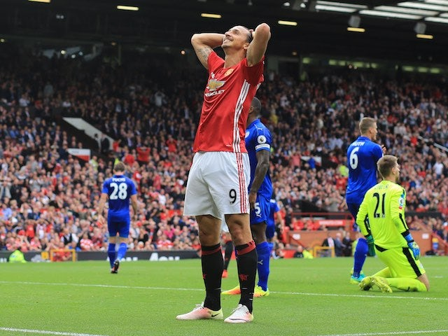 Zlatan Ibrahimovic rues a missed chance during the game between Manchester United and Leicester City on September 24, 2016
