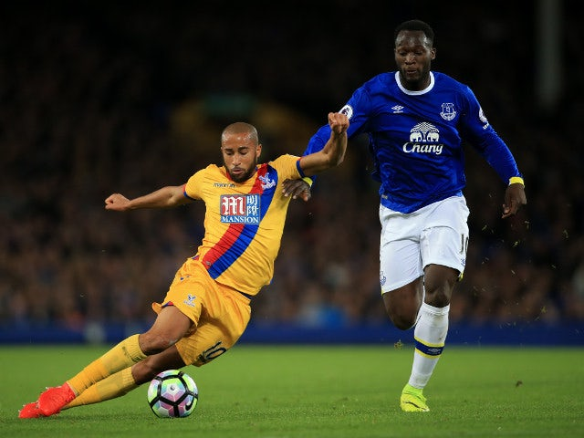 Crystal Palace winger Andros Townsend battles with Everton's Romelu Lukaku during the 1-1 Premier League draw between the two side's at Goodison Park on September 30, 2016