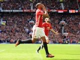 Anthony Martial celebrates scoring during the Premier League game between Manchester United and Stoke City on October 2, 2016
