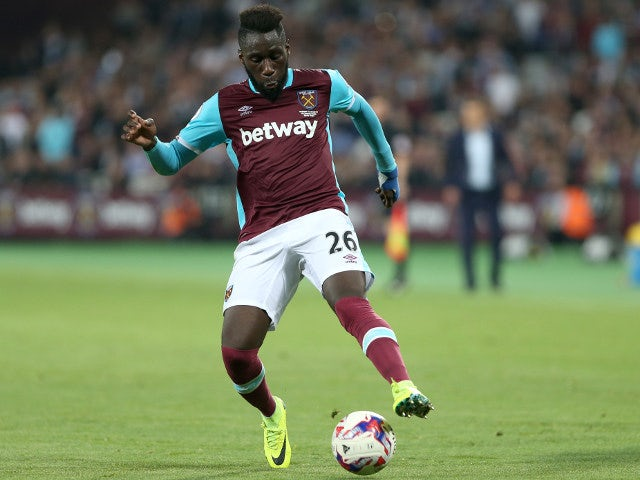 Arthur Masuaku of West Ham during a EFL Cup third round match between West Ham United and Accrington Stanley on September 21, 2016