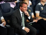 Celtic manager Brendan Rodgers looks nervous on the bench during his side's 7-0 Champions League loss away to Barcelona at the Camp Nou on September 13, 2016