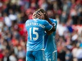 Stoke City defender Bruno Martins Indi hugs a teammate during his side's 1-1 draw with Manchester United at Old Trafford on October 2, 2016