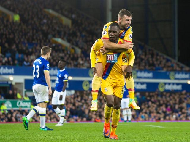 Crystal Palace striker Christian Benteke celebrates after scoring the equaliser during his side's 1-1 draw against Everton at Goodison Park on September 30, 2016