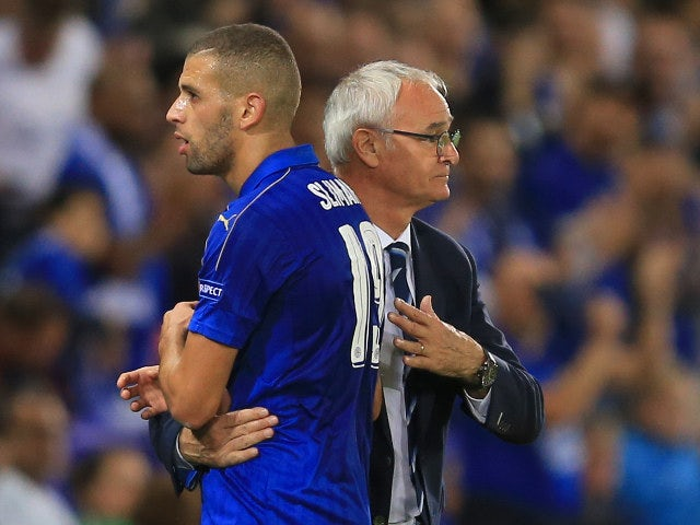 Leicester City manager Claudio Ranieri congratulates match-winner Islam Slimani as he is subbed off during Leicester 1-0 Champions League Group G victory over Porto at the King Power Stadium on September 27, 2016