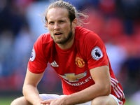 Daley Blind has a crouch during the Premier League game between Manchester United and Stoke City on October 2, 2016