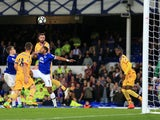 Crystal Palace defender Damien Delaney scores a disallowed goal during his side's 1-1 draw with Everton at Goodison Park on September 30, 2016