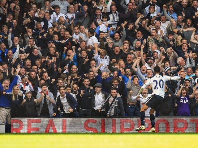 Tottenham Hotspur midfielder Dele Alli celebrates after scoring during his side's Premier League match with Manchester City at White Hart Lane on October 2, 2016