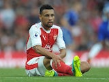 Arsenal's Francis Coquelin sits injured on September 24, 2016