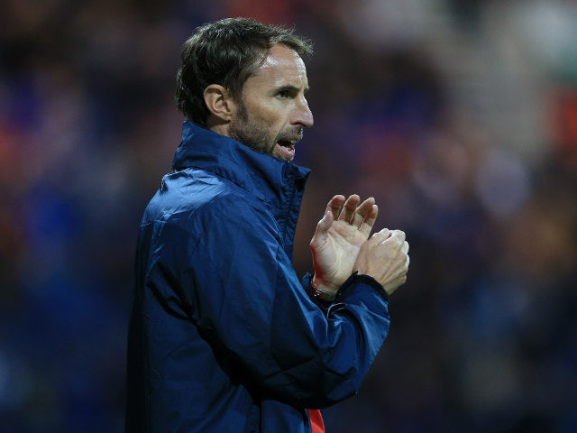 England Under-21s manager Gareth Southgate looks on during the match against USA Under-23s on September 3, 2015