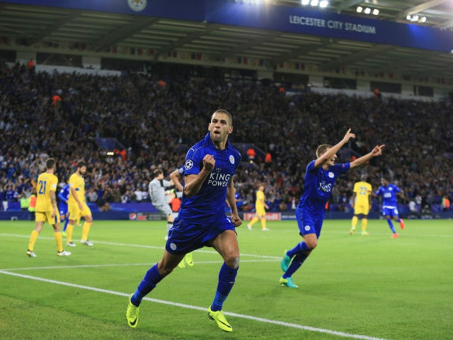 Leicester City striker Islam Slimani celebrates after giving Leicester the lead during their Champions League Group G match against Porto at the King Power Stadium on September 27, 2016