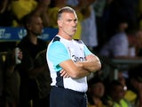 Derby manager Nigel Pearson looks dejected during the EFL Championship match between Burton Albion and Derby County at the Pirelli Stadium on August 26, 2016
