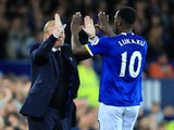 Everton striker Romelu Lukaku celebrates with manager Ronald Koeman after scoring the opening goal in his side's 1-1 draw with Crystal Palace at Goodison Park on September 30, 2016