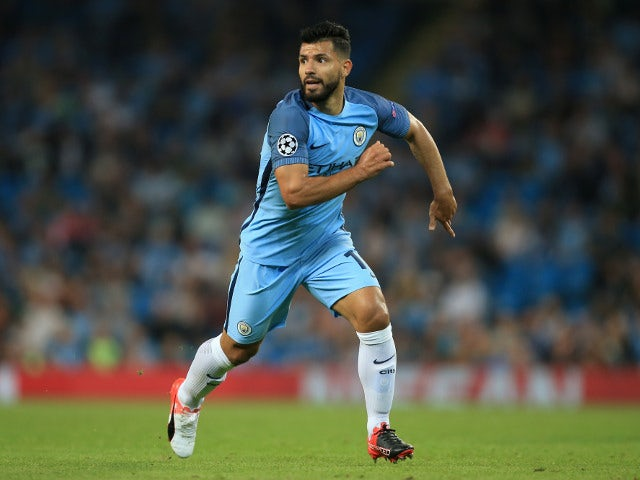 Sergio Aguero of Man City at the Champions League Group C match between Manchester City and Borussia Monchengladbach at the Etihad Stadium on September 14, 2016