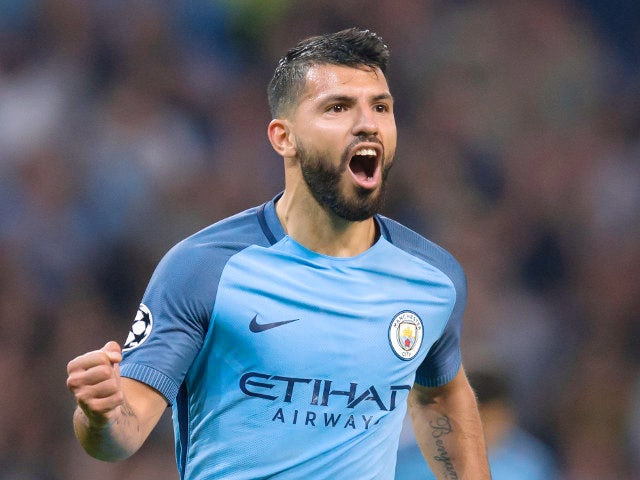 Manchester Citys Sergio Aguero Celebrates After Scoring His Second Goal Against Borussia Monchengladbach During The Champions