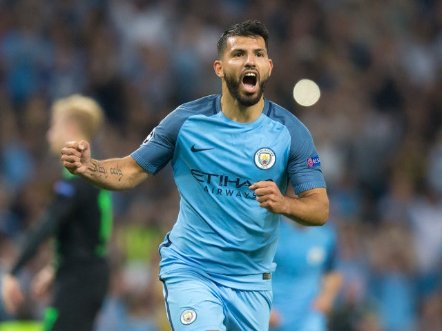 Manchester City's Sergio Aguero celebrates after scoring his second goal against Borussia Monchengladbach during the Champions League Group C match between Manchester City and Borussia Monchengladbach at the Etihad Stadium on September 14, 2016