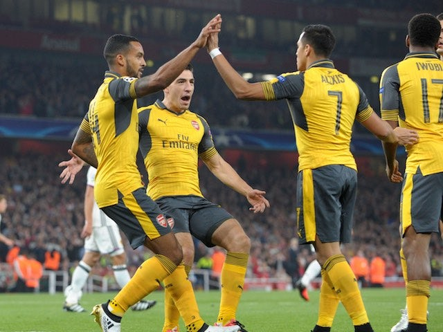 Theo Walcott celebrates scoring during the Champions League game between Arsenal and Basel on September 28, 2016