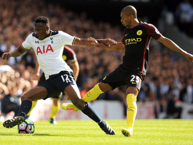 Tottenham Hotspur midfielder Victor Wanyama is challenged by Manchester City's Fernandinho during the Premier League clash between the two sides at White Hart Lane on October 2, 2016