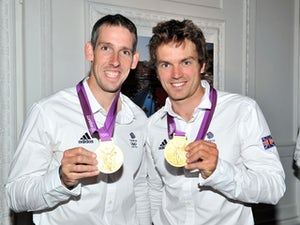 Etienne Stott and Tim Baillie at an Olympic party on August 9, 2012