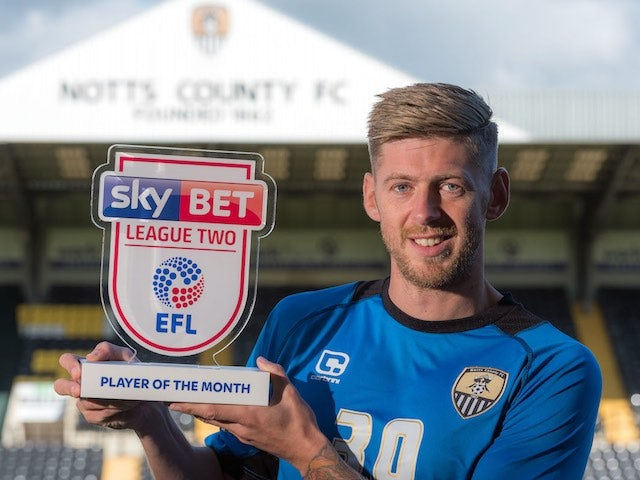 Jon Stead poses with his Player of the Month award for September 2016