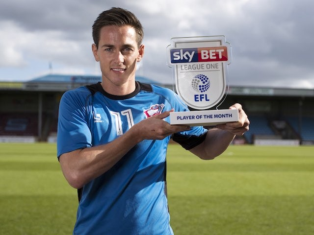 Josh Morris poses with his Player of the Month award for September 2016
