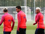 Barcelona trio Lionel Messi, Luis Suarez and Neymar in training