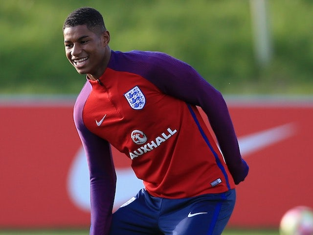 Marcus Rashford in action during England training on October 4, 2016