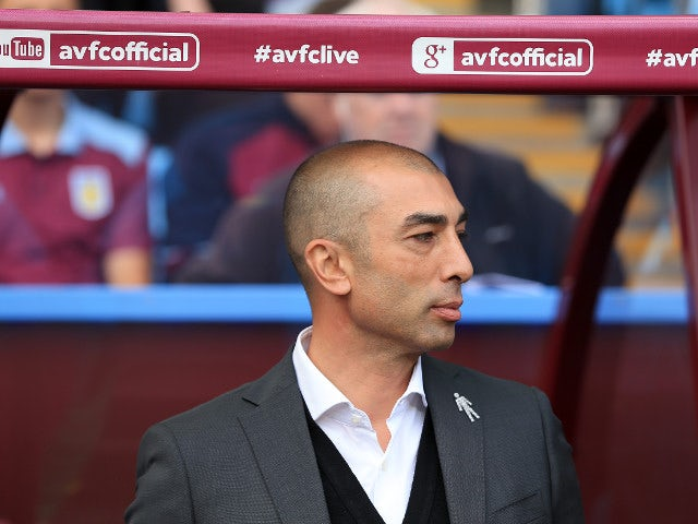 Aston Villa manager Roberto Di Matteo before his side's Championship match against Nottingham Forest at Villa Park on September 11, 2016