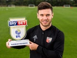 Scott Hogan poses with his Player of the Month award for September 2016