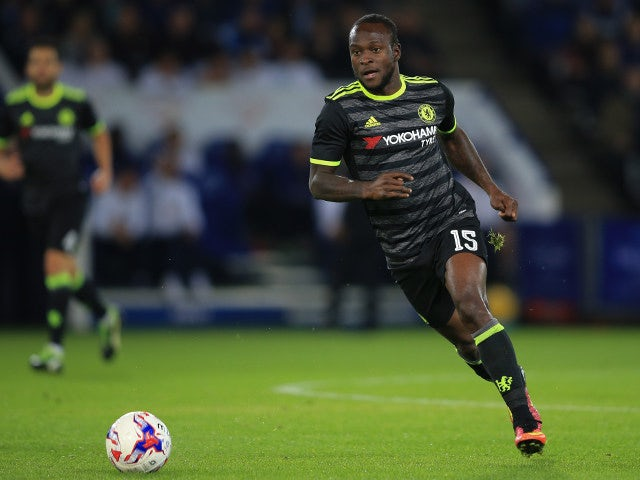 Chelsea winger Victor Moses in action during his side's EFL Cup clash with Leicester City at the King Power Stadium on September 20, 2016